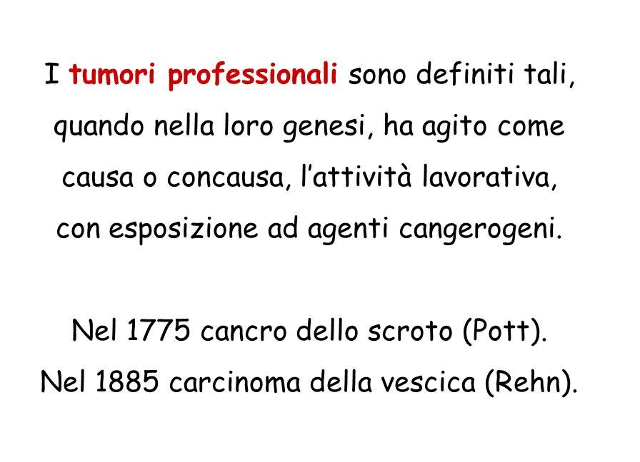 I tumori professionali sono definiti tali, quando nella loro genesi, ha agito come causa o concausa, l'attività lavorativa, con esposizione ad agenti cangerogeni.