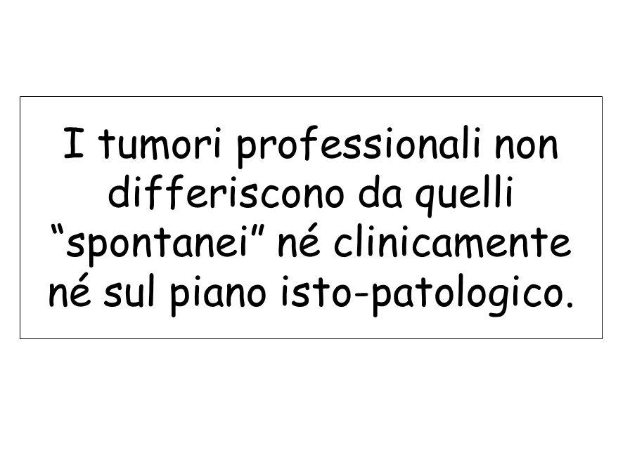 I tumori professionali non differiscono da quelli spontanei né clinicamente né sul piano isto-patologico.