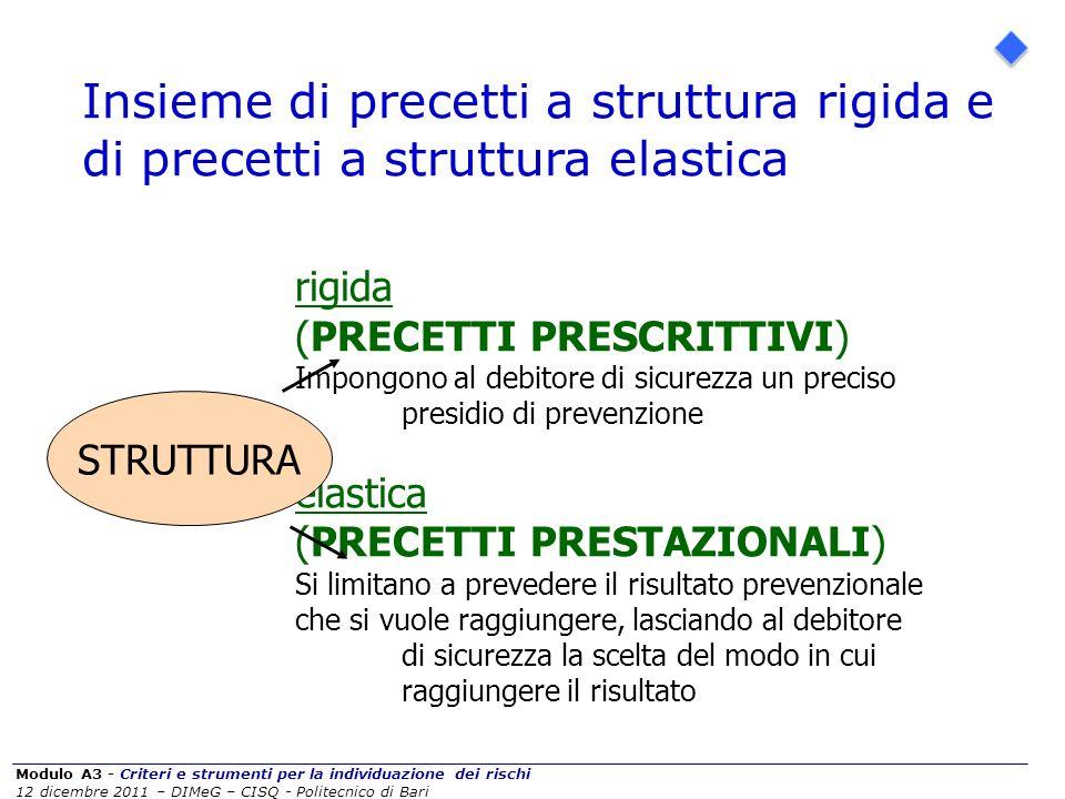 Insieme di precetti a struttura rigida e di precetti a struttura elastica