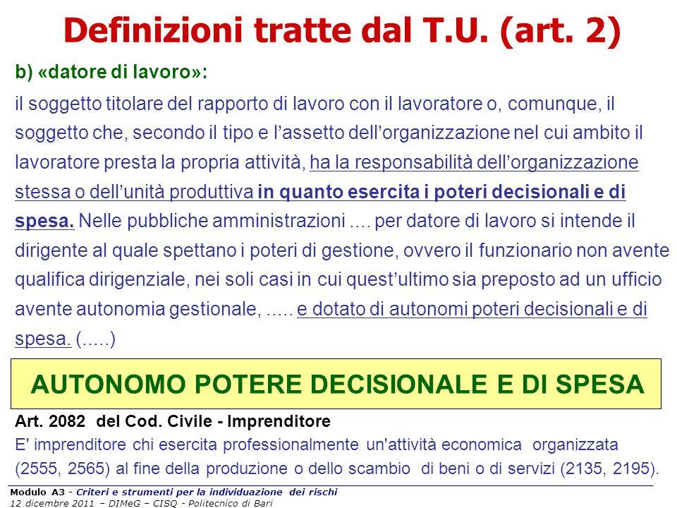 Definizioni tratte dal T.U. (art. 2)