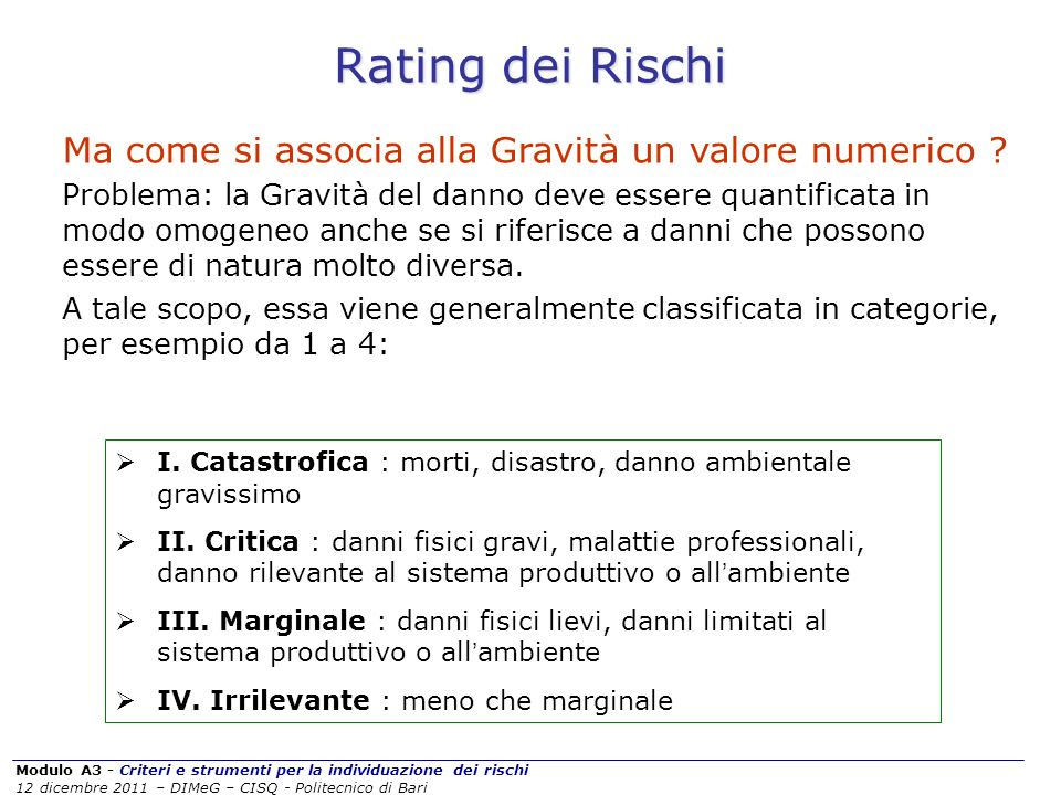 Rating dei Rischi Ma come si associa alla Gravità un valore numerico