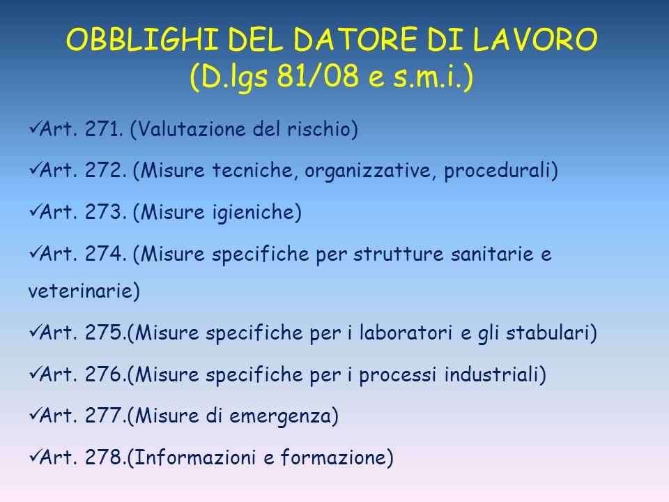 OBBLIGHI DEL DATORE DI LAVORO (D.lgs 81/08 e s.m.i.)