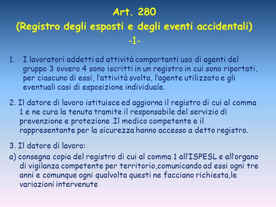 (Registro degli esposti e degli eventi accidentali)