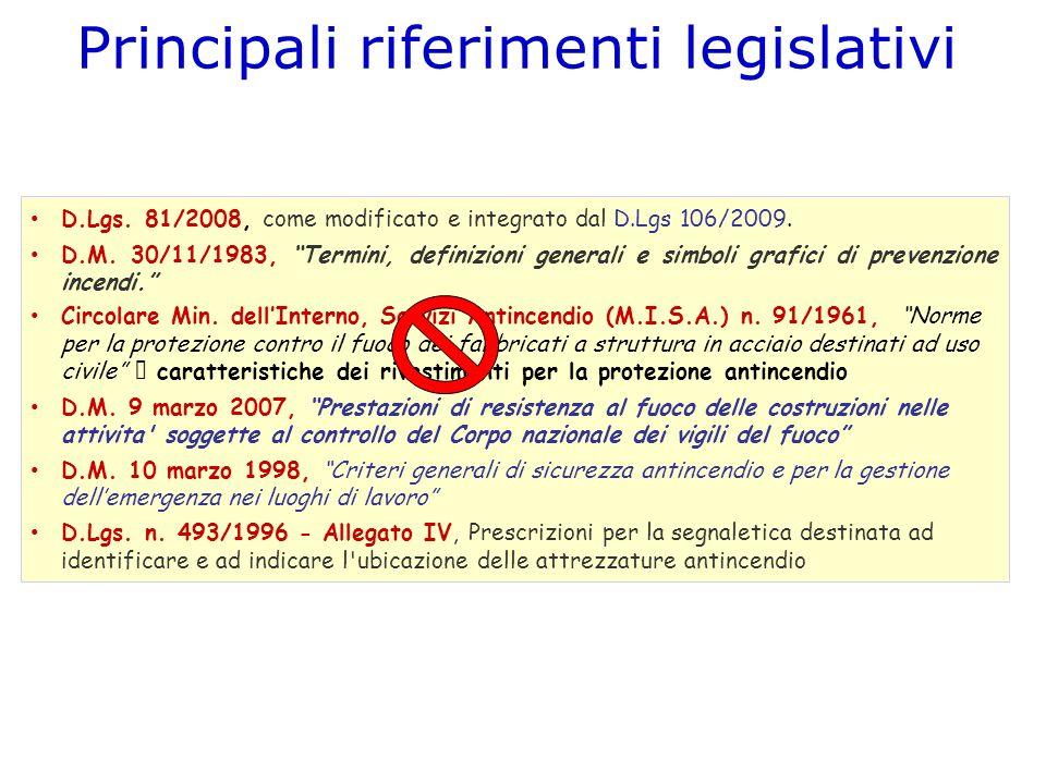 Principali riferimenti legislativi