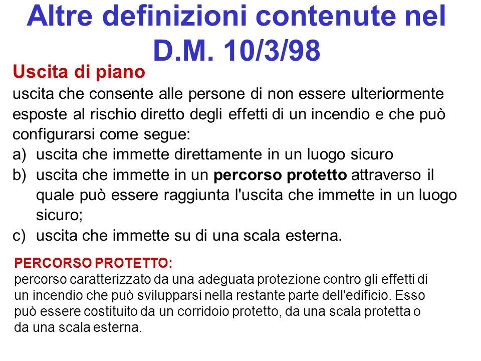 Altre definizioni contenute nel D.M. 10/3/98