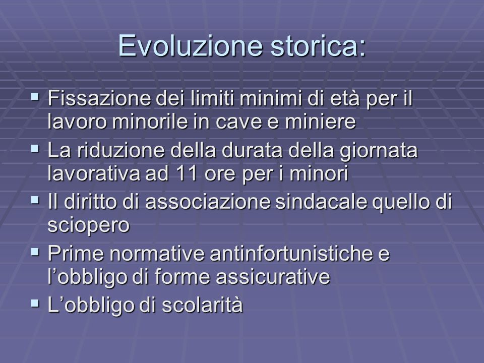 Evoluzione storica: Fissazione dei limiti minimi di età per il lavoro minorile in cave e miniere.