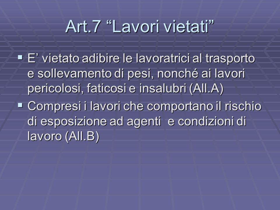 Art.7 Lavori vietati