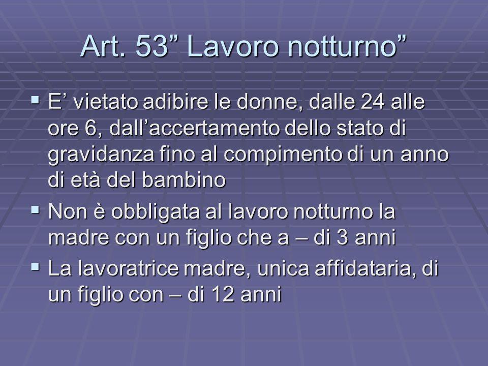 Art. 53 Lavoro notturno