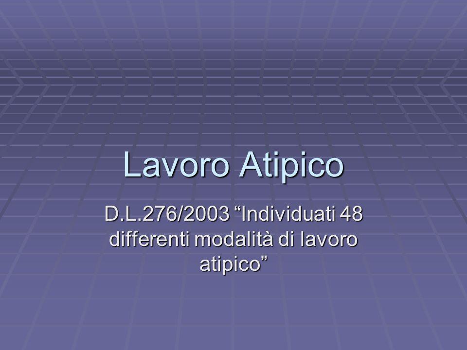 D.L.276/2003 Individuati 48 differenti modalità di lavoro atipico
