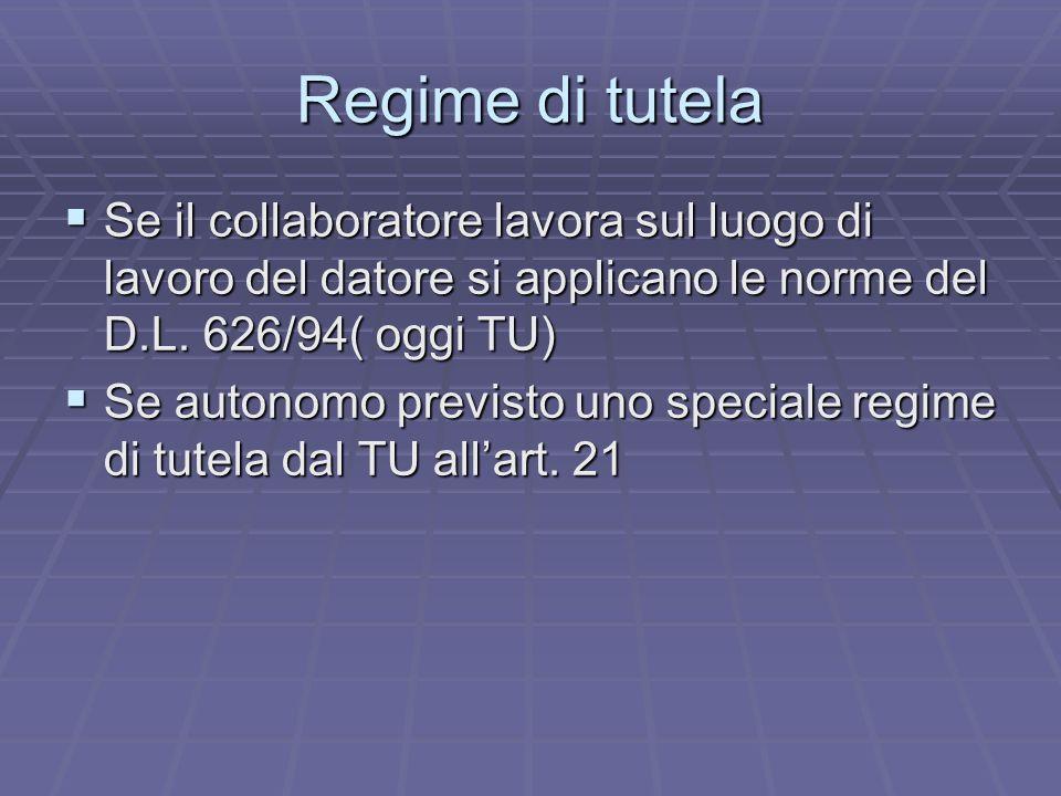 Regime di tutela Se il collaboratore lavora sul luogo di lavoro del datore si applicano le norme del D.L. 626/94( oggi TU)