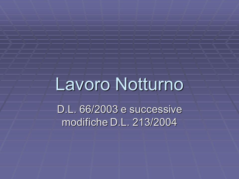 D.L. 66/2003 e successive modifiche D.L. 213/2004