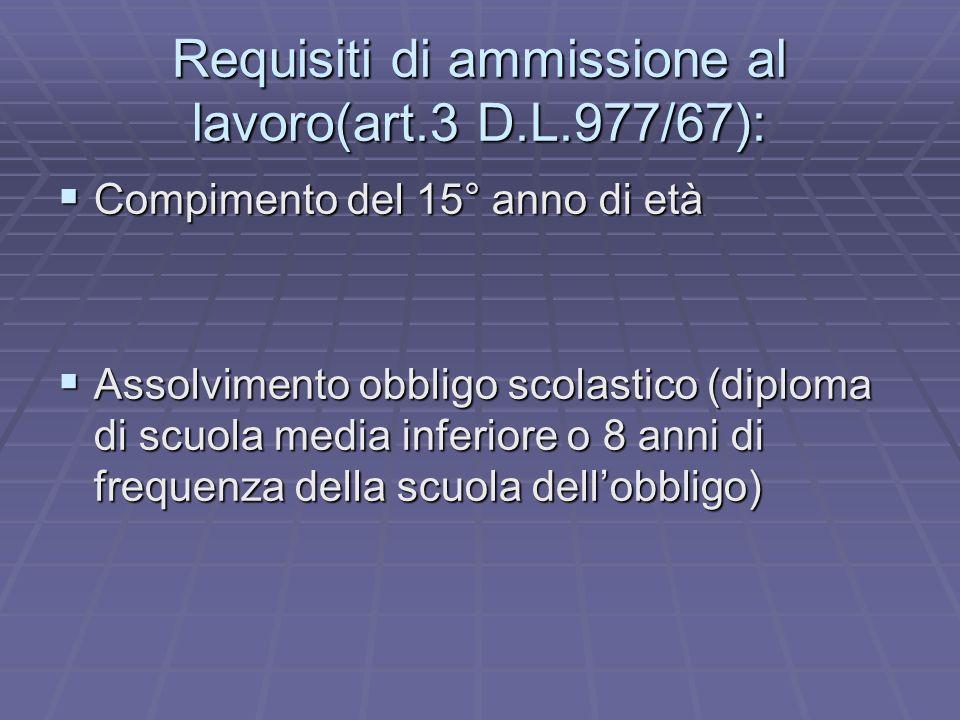 Requisiti di ammissione al lavoro(art.3 D.L.977/67):