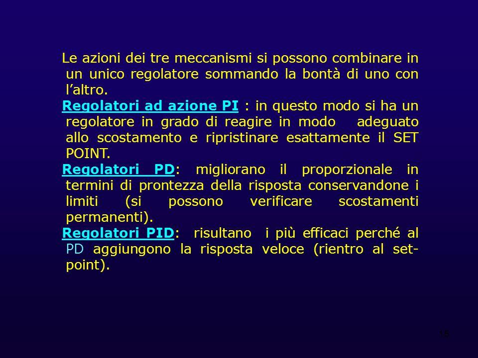 Le azioni dei tre meccanismi si possono combinare in un unico regolatore sommando la bontà di uno con l'altro.