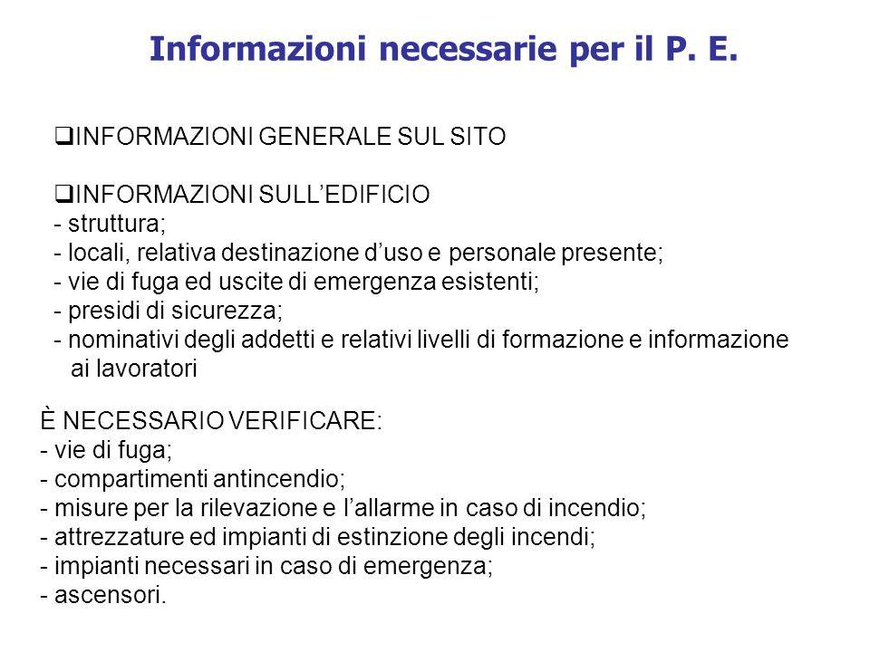 Informazioni necessarie per il P. E.