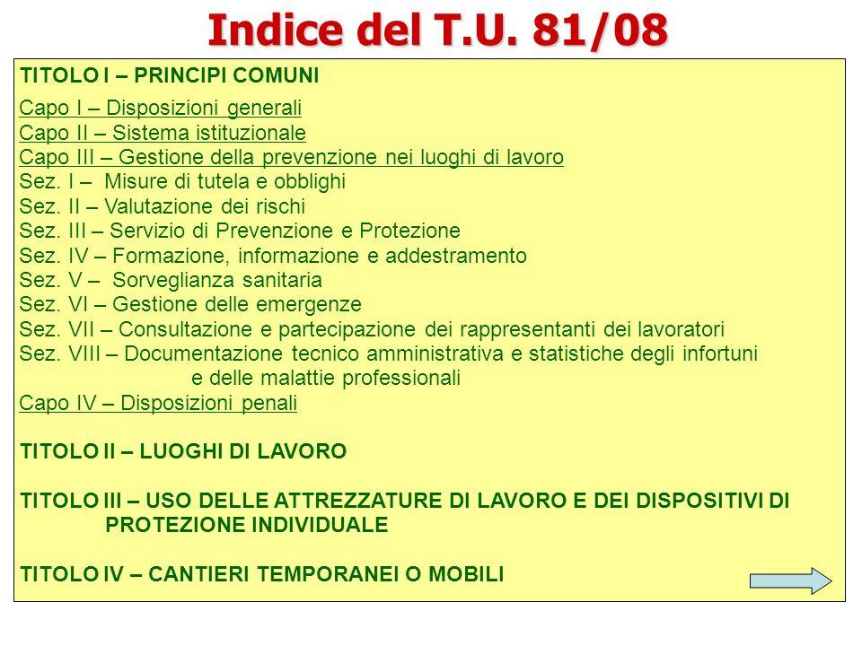 Indice del T.U. 81/08 TITOLO I – PRINCIPI COMUNI