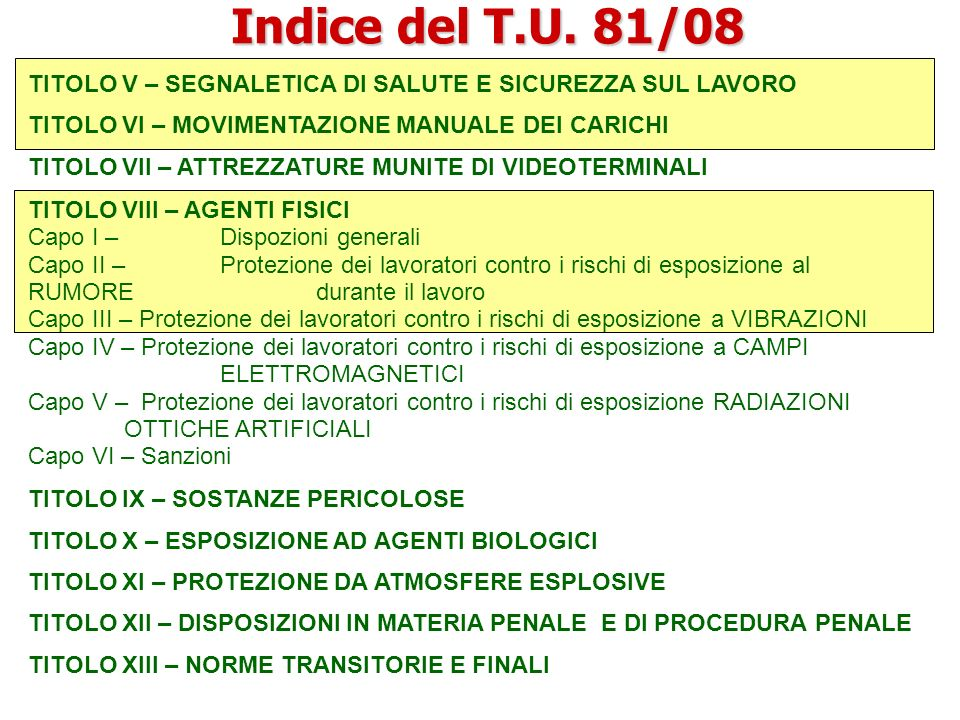 Indice del T.U. 81/08TITOLO V – SEGNALETICA DI SALUTE E SICUREZZA SUL LAVORO. TITOLO VI – MOVIMENTAZIONE MANUALE DEI CARICHI.