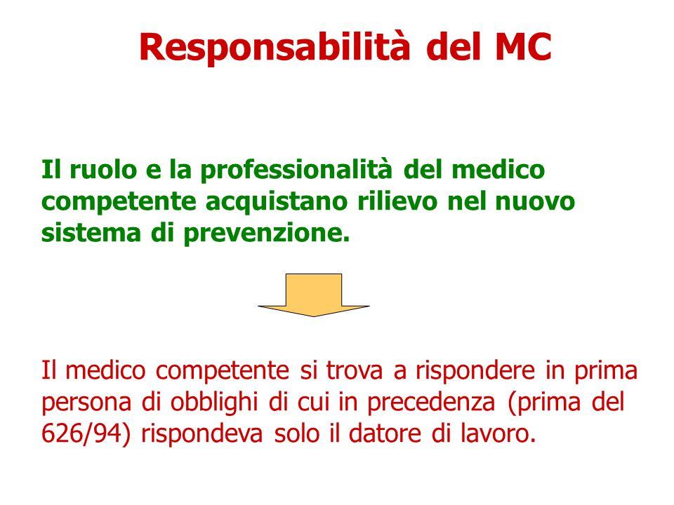 Responsabilità del MC Il ruolo e la professionalità del medico competente acquistano rilievo nel nuovo sistema di prevenzione.