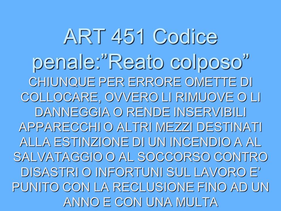 ART 451 Codice penale: Reato colposo