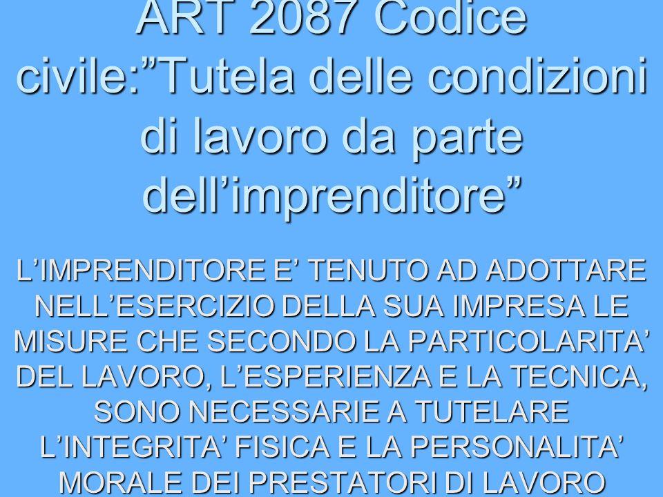 ART 2087 Codice civile: Tutela delle condizioni di lavoro da parte dell'imprenditore