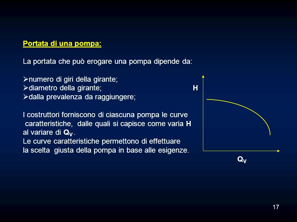 Portata di una pompa: La portata che può erogare una pompa dipende da: numero di giri della girante;
