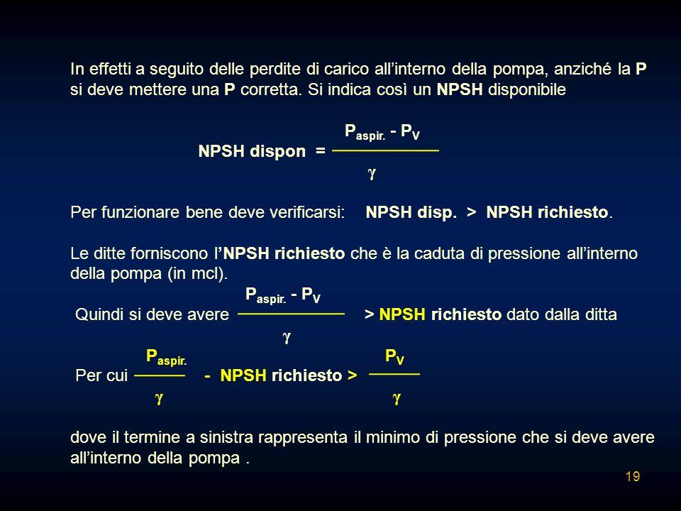 In effetti a seguito delle perdite di carico all'interno della pompa, anziché la P si deve mettere una P corretta. Si indica così un NPSH disponibile