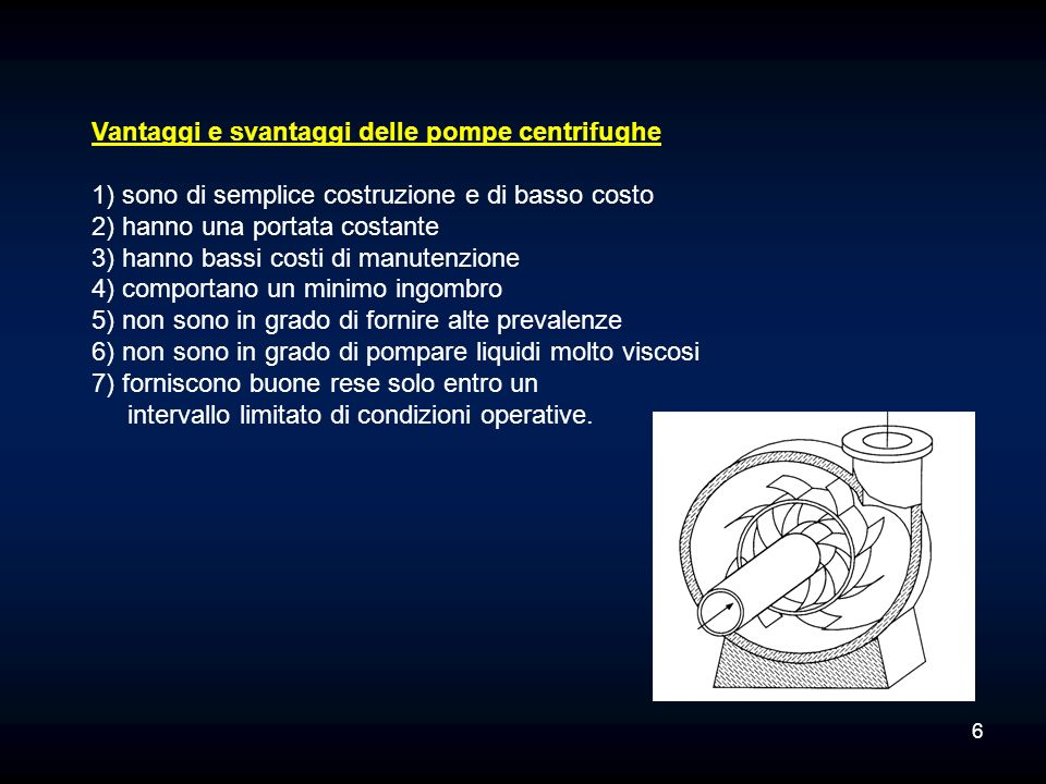 Vantaggi e svantaggi delle pompe centrifughe