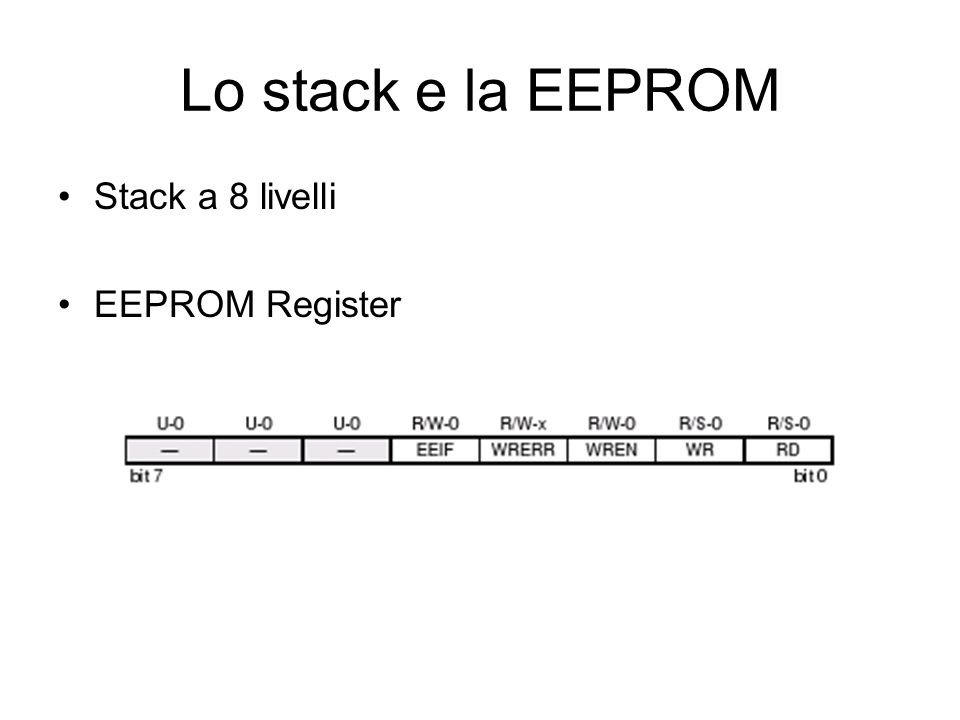 Lo stack e la EEPROM Stack a 8 livelli EEPROM Register