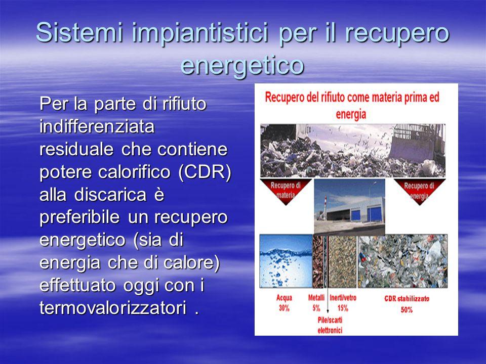 Sistemi impiantistici per il recupero energetico