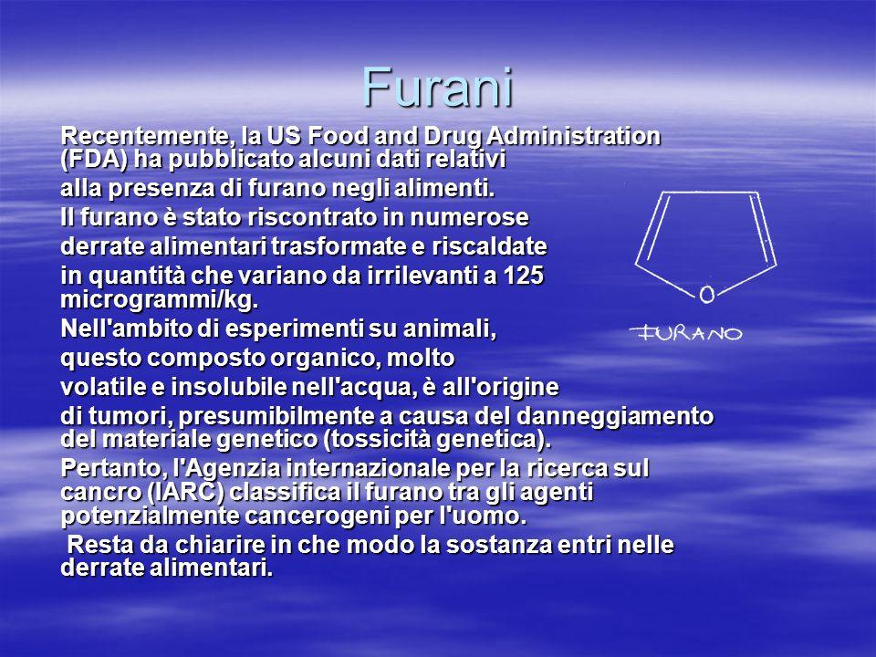 Furani Recentemente, la US Food and Drug Administration (FDA) ha pubblicato alcuni dati relativi. alla presenza di furano negli alimenti.