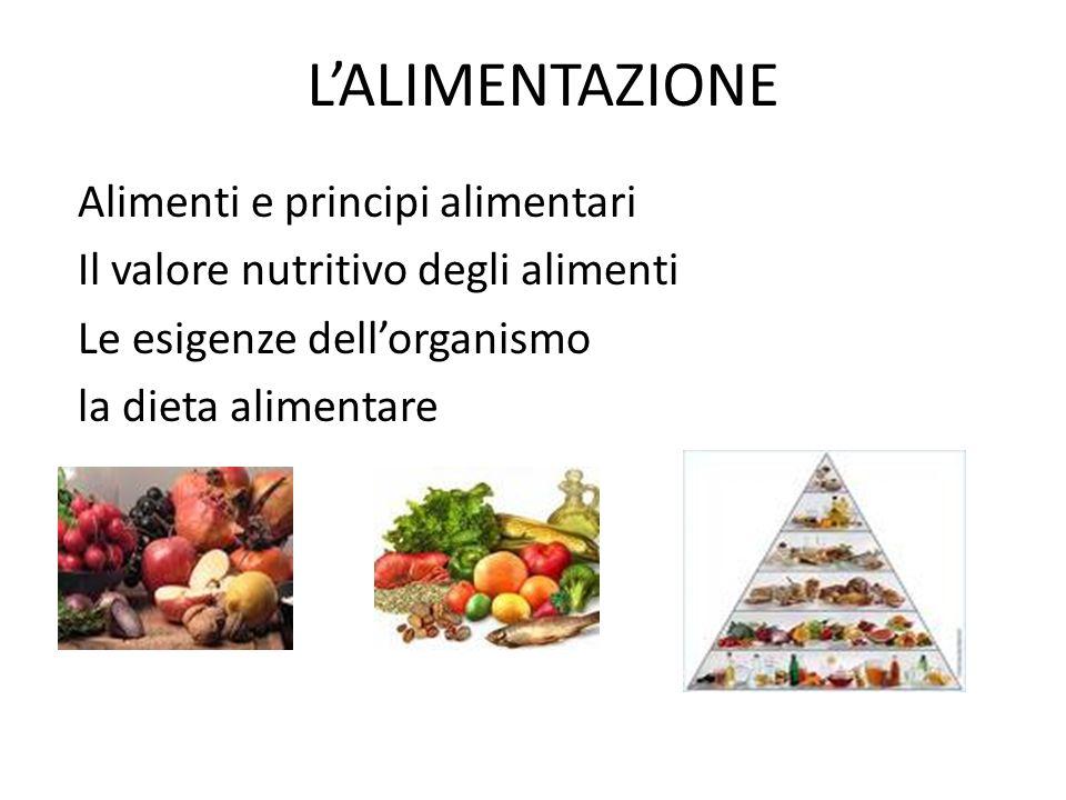 L'ALIMENTAZIONE Alimenti e principi alimentari