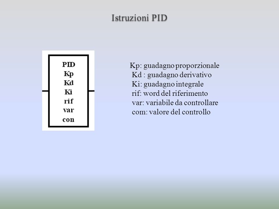 Istruzioni PID Kp: guadagno proporzionale Kd : guadagno derivativo