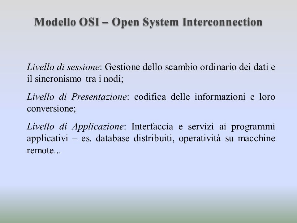 Modello OSI – Open System Interconnection