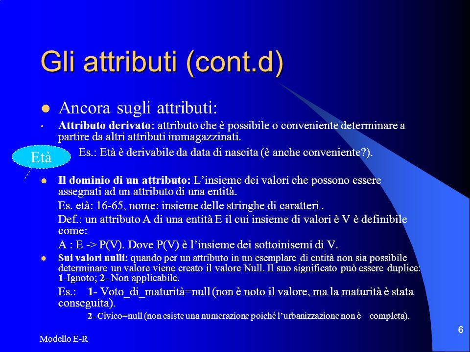 Gli attributi (cont.d) Ancora sugli attributi: Età