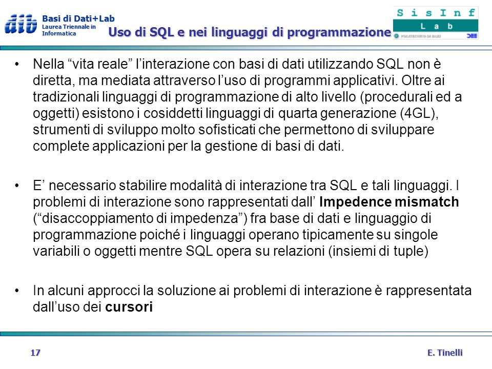Uso di SQL e nei linguaggi di programmazione