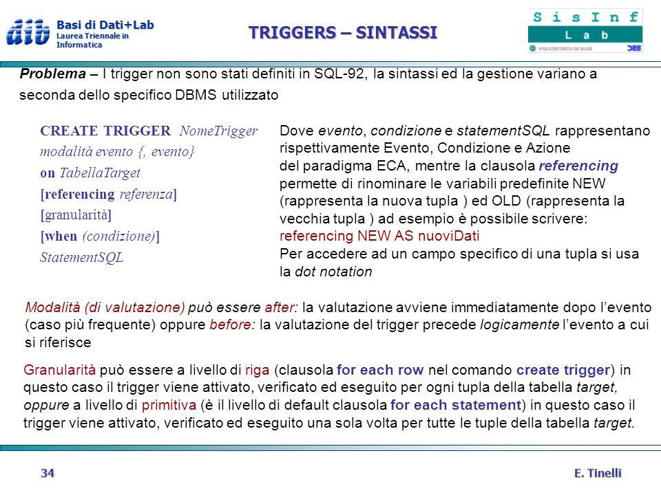 TRIGGERS – SINTASSI Problema – I trigger non sono stati definiti in SQL-92, la sintassi ed la gestione variano a.