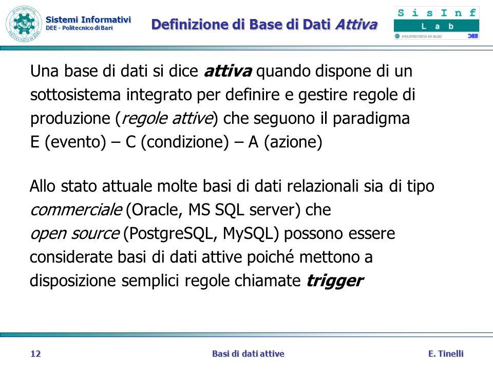 Definizione di Base di Dati Attiva