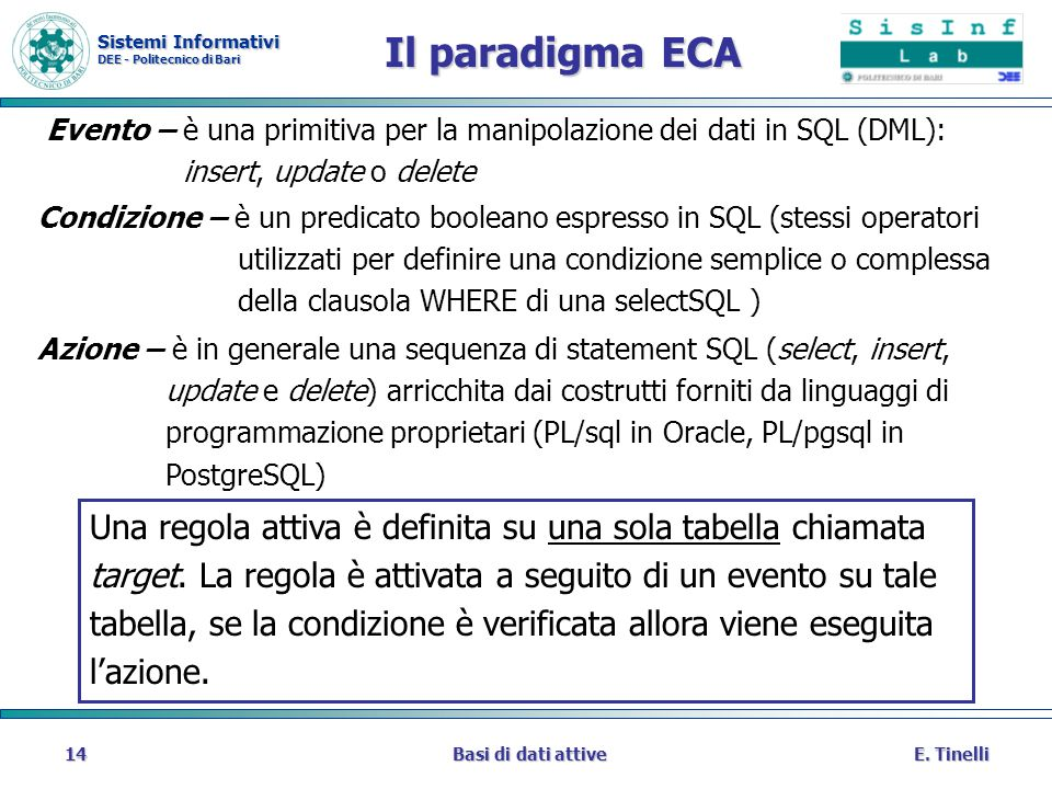 Il paradigma ECA Evento – è una primitiva per la manipolazione dei dati in SQL (DML): insert, update o delete.