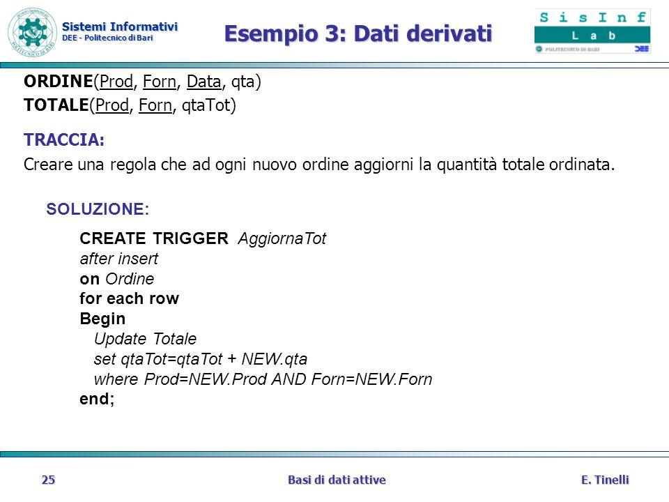 Esempio 3: Dati derivati