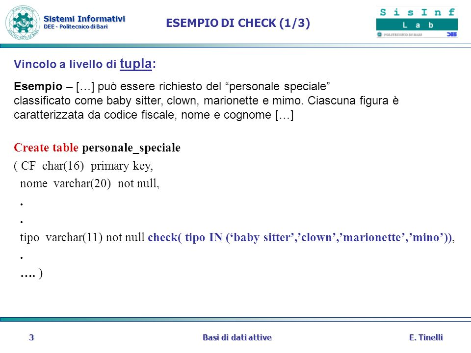 Create table personale_speciale ( CF char(16) primary key,