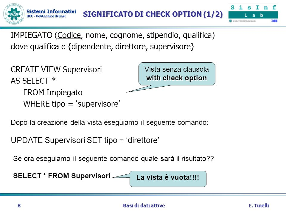 SIGNIFICATO DI CHECK OPTION (1/2)