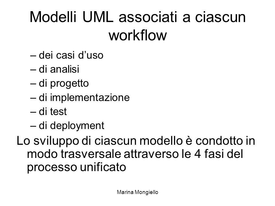 Modelli UML associati a ciascun workflow