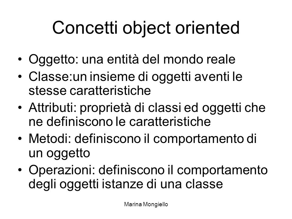 Concetti object oriented