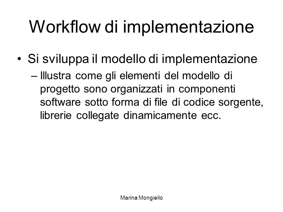 Workflow di implementazione