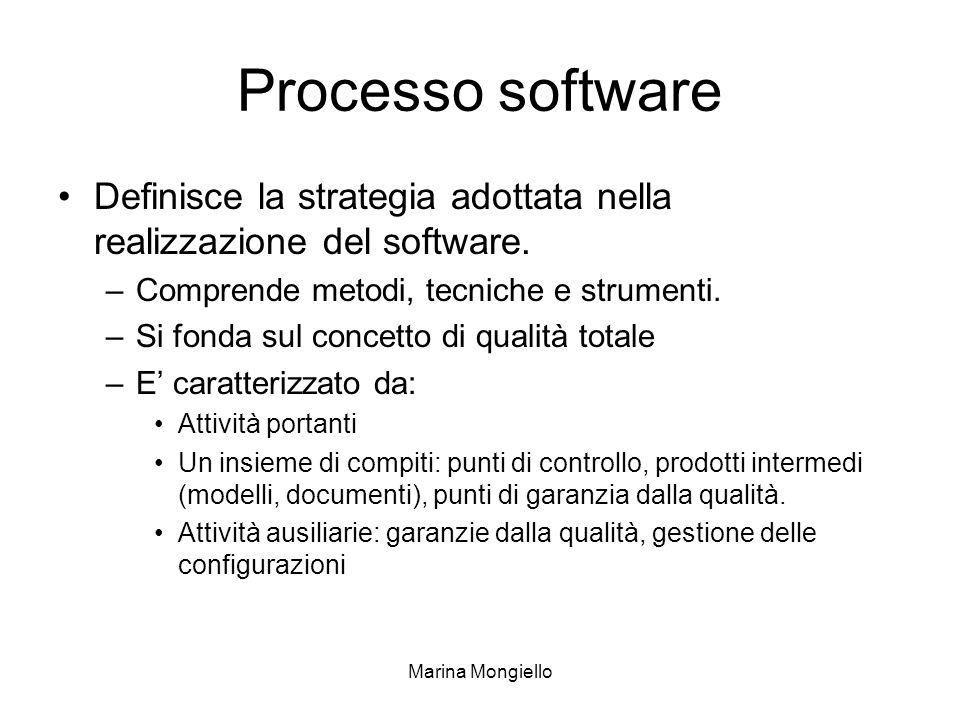 Processo software Definisce la strategia adottata nella realizzazione del software. Comprende metodi, tecniche e strumenti.