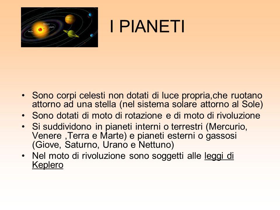 I PIANETI Sono corpi celesti non dotati di luce propria,che ruotano attorno ad una stella (nel sistema solare attorno al Sole)