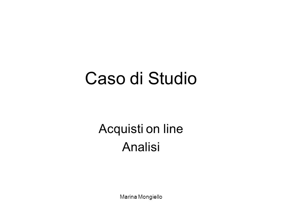 Acquisti on line Analisi