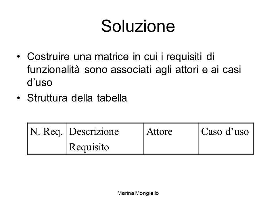 Soluzione Costruire una matrice in cui i requisiti di funzionalità sono associati agli attori e ai casi d'uso.