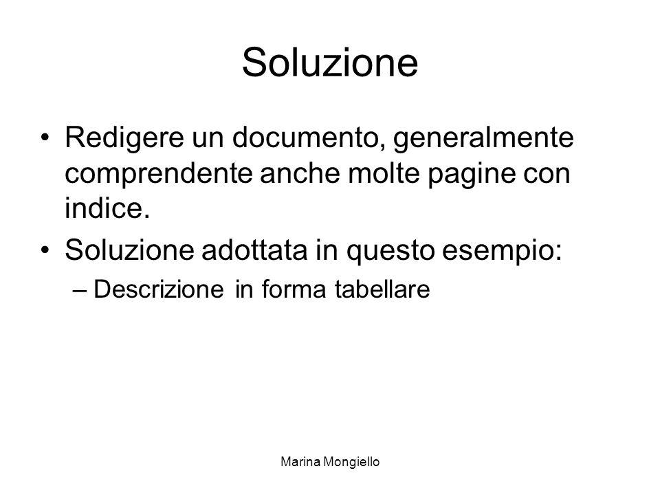 Soluzione Redigere un documento, generalmente comprendente anche molte pagine con indice. Soluzione adottata in questo esempio: