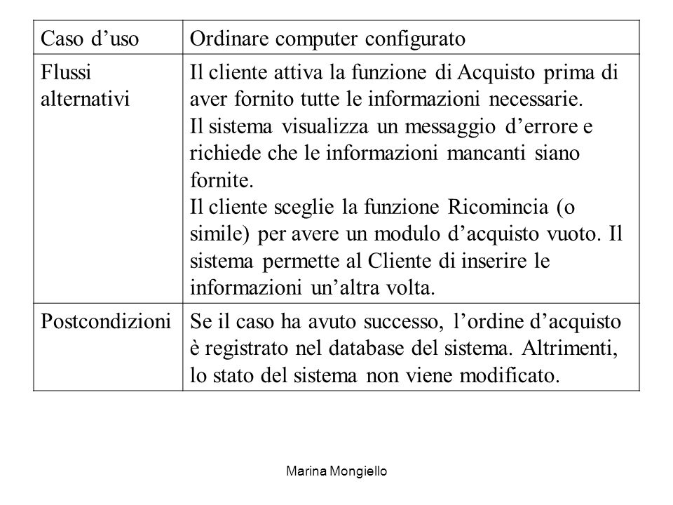 Ordinare computer configurato Flussi alternativi