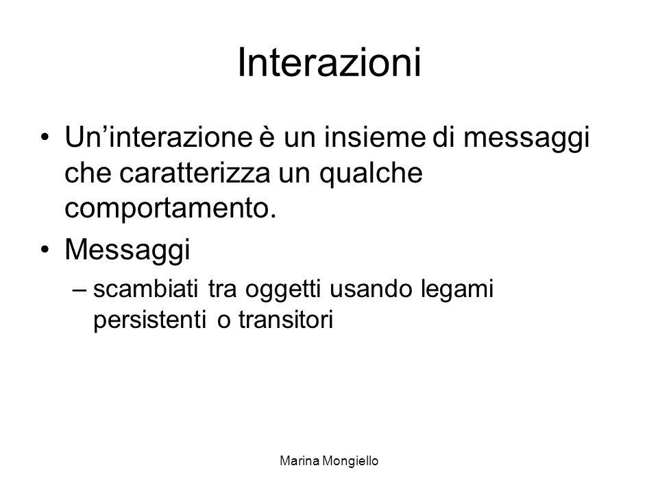 Interazioni Un'interazione è un insieme di messaggi che caratterizza un qualche comportamento. Messaggi.